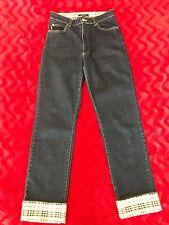 Burberry London Ladies Blue Jeans w/ Check Cuffs US 4 / UK 6