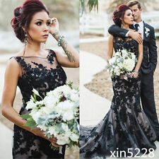 2017 Gothic Black Vintage Mermaid Wedding Dress Bridal Gown Size 2 4 6 8 10 12+