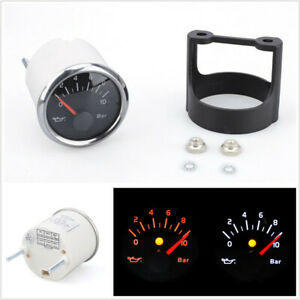 "2"" 52mm Car Modified Waterproof Oil Pressure Gauge Meter 0-10Bar w Accessories"