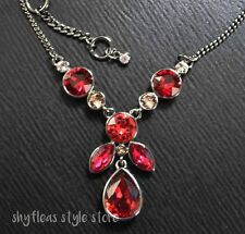Givenchy Necklace Red Glass Stones Frontal Y Formal Light Hematite Tone NEW