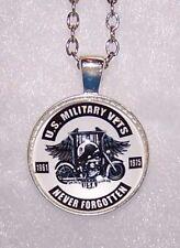 Sterling silver BIKER VET POW pendant charm necklace chain men women keyring
