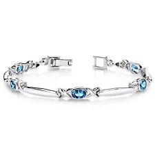 2.75 CT Oval London Blue Topaz Sterling Silver Bracelet
