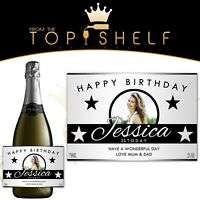personalised wine champagne prosecco photo bottle label birthday any occasion