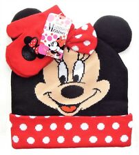 MINNIE MOUSE DISNEY Knit Polka Dot Winter Hat & Mitten Set w/ Ears & Red Bow $22