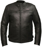 Skintan Men Leather Motorcycle Jacket CE Armoured Black Motorbike Biker Touring