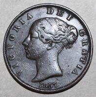 British Half Penny Coin 1857 w/dots KM# 726 Great Britain Queen Victoria UK 1/2