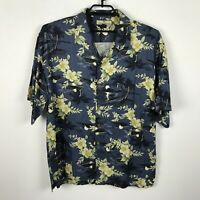 Tommy Bahama Shirt Size XL Silk Blue Green Floral Palm Trees Hawaiian Aloha Mens