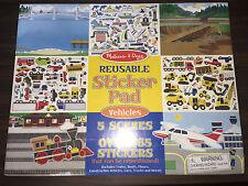 New! Melissa & Doug Reusable Sticker Pad - Vehicles Scenes #4199, Trains, Planes
