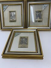 """Roma Sparita Framed Sterling Silver 925 Inlay 24Kt Gold Trim 6"""" Square Set Of 3"""