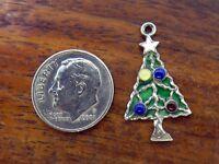 Vintage sterling silver MERRY CHRISTMAS TREE w/ ORNAMENTS PENDANT ENAMEL charm
