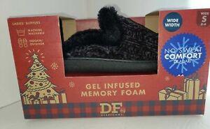 NIB Ladies DEARFOAM Black Slippers Gel Infused Memory Foam Hard Sole S(5/6w)