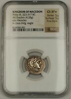 323-317 BC Macedon AR Drachm Silver Ancient Coin Phillip III NGC Ch XF Star