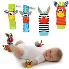 Set of 4 Cute Animal Infant Baby Kids Hand Wrist Bell Foot Sock Rattles Soft Toy