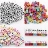 200 Mixed Single Letter A-Z Cube Alphabet Acrylic Beads 3 Color