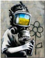 """BANKSY STREET ART CANVAS PRINT Gas mask boy 8""""X 10"""" stencil poster"""