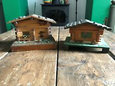 2 x Vintage Reuge Swiss Musical chalet musical box. Dancing Girl