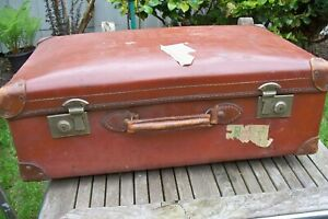 Vintage Brown Faux Leather Suitcase - Solid Leather Handle & Edge Protectors.