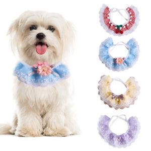 Hundehalstuch Halsbänder Bandana Haustier Spitze Schal für Hunde und Katzen DE