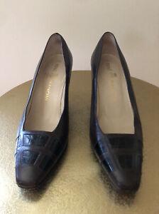 Rene Mancini Paris 37.5 EU / 7 US Brown w/ Black Leather Heels Pumps Square Toe
