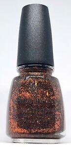China Glaze Nail Polish Ick-A-Bod-Y 944 Orange Glitter On Dark Olive Green Base
