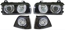 For BMW 3 Series E36 4Dr 90-98 Black Angel Eye Headlights Lighting Lamp