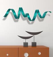 Teal Metal Wall Twist Sculpture - 3d Abstract Modern Wall Art Decor - Jon Allen