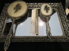 4 Piece 1940-50's Vintage Mirrored Vanity w Matching hair brush,comb, and mirror