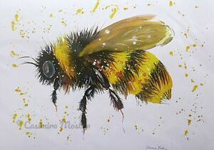 """Greeting card, Bumble bee  7"""" by 5""""  By casimira Mostyn"""