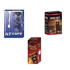 Natural Cure For Excessive OM Habit 120 NF Cure + 120 Shilajit + 6 Mast Mood Oil