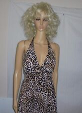 TERRI SEXY LEOPARD PRINT LADIE'S HALTER-TOP COCKTAIL DRESS USA N W/O T -MEDIUM