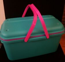 Eagle CraftStor Vintage Teal Plastic Craft Sewing Storage Organizer Tote Extra
