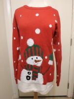 Allison Brittney L Dress Red Frosty the Snowman Ugly Christmas Sweater