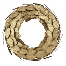 Gold Magnolia Leaves Metal Wreath 10""