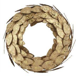 "Gold Magnolia Leaves Metal Wreath 10"""