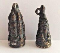 LOT 2 Amulette statuette pendentif bronze cuivré BOUDDHA GRELOT Cambodge P73