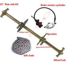 "32"" Go Kart ATV Rear Axle Assembly Kit Shaft + Hub+ Chain+ Brake Master Cylinder"
