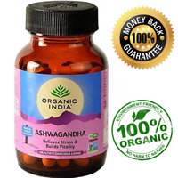 Organic India Ashwagandha Root Powder Capsules (Withania somnifera) 400mg