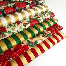 100% Cotton Fabric Fat Quarters Bundle Christmas Pointsettia Stripe Red Gold F6