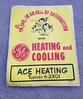 "ORIGINAL 1950's GE Heating & Cooling Ad Decal Fasson Fascal 12 1/2"" x 15"" Rare!"