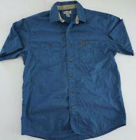 Carhartt - Men's SIZE LARGE -BLUE Short Sleeve Button Down Work Shirt Cotton