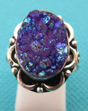 925 Silver Ring With Natural Purple Titanium Druzy Size P 1/2 US 8 (rg2526)