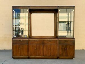 Early 1970s Cherrywood and Brass China Cabinet by Thomasville
