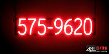 SpellBrite Ultra-Bright 7 DIGIT PHONE NUMBER Sign Neon look LED performance