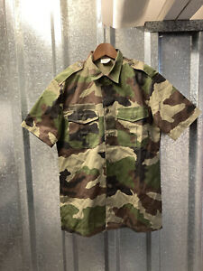 French Mens 2002 Camouflage Green Army CCE Military Short Sleeve Shirt 37/38