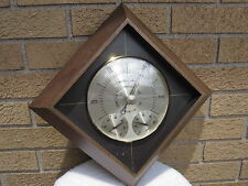 Vintage AIRGUIDE USA Weather Station Barometer Glass/Brass MCM Modern Wall Mount