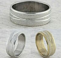8mm Stainless Steel Mens & Womens Wedding Band - Gold Silver Sparkle Ring L to Z