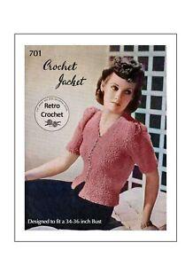 1940's Pretty Crochet Cardigan Jacket Pattern Bust 34
