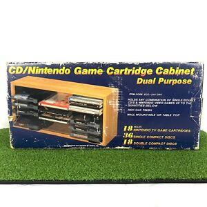 VTG CD Nintendo Game Cartridge Cabinet Dual Purpose Wooden Oak Display ECC-316
