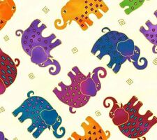 Mythical Jungle Elephant Toss Y2139-2M Light Cream w/Met by Laurel Burch BTY