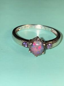 9ct 9k white Gold Black Opal Amethyst Ring Size O I love you